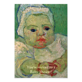 Van Gogh Baby Shower Invite; Baby Marcelle Roulin Card
