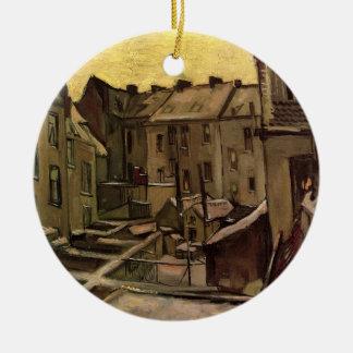 Van Gogh Backyards of Old Houses, Antwerp in Snow Ceramic Ornament