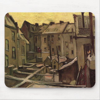 Van Gogh Backyards of Old Houses, Antwerp in Snow Mouse Pad