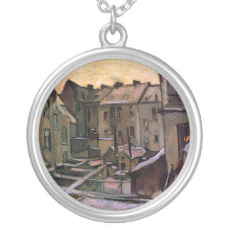 Van Gogh - Backyards Of Old Houses Round Pendant Necklace