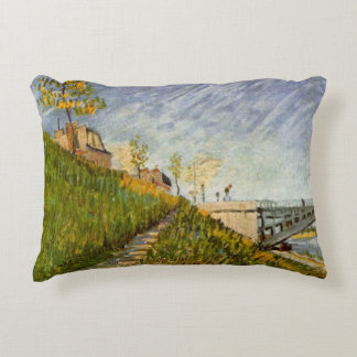 Van Gogh Banks of the Seine with Pont de Clichy Decorative Pillow