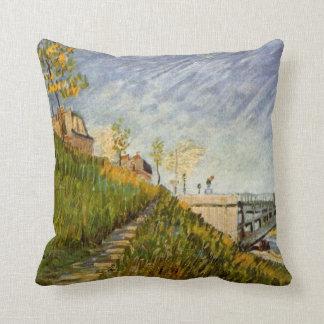 Van Gogh Banks of the Seine with Pont de Clichy Throw Pillow