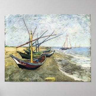 Van Gogh - barcos de pesca en la playa Posters