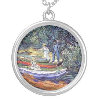 Van Gogh - barcos de Rowing en los bancos del Oise Colgante Redondo