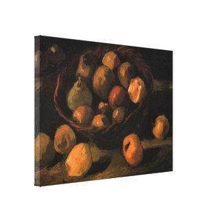 Van Gogh Basket of Apples, Vintage Still Life Art Canvas Print