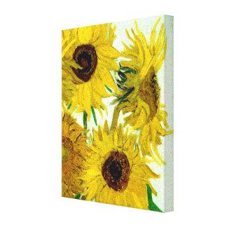 Van Gogh: Bella arte del vintage de los girasoles  Lienzo Envuelto Para Galerías