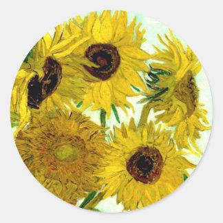 Van Gogh: Bella arte del vintage de los girasoles Pegatina Redonda