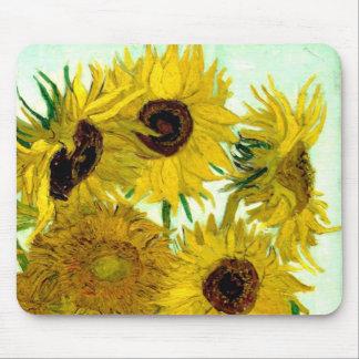 Van Gogh: Bella arte del vintage de los girasoles  Tapetes De Ratón