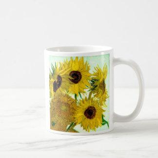 Van Gogh: Bella arte del vintage de los girasoles  Tazas De Café