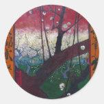 Van Gogh Blooming Plum Tree Round Sticker