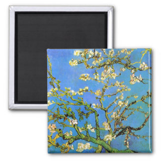 Van Gogh - Blossoming Almond Tree 2 Inch Square Magnet