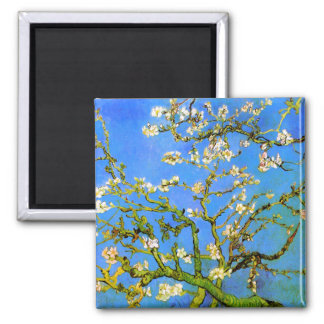 Van Gogh: Blossoming Almond Tree Branches 2 Inch Square Magnet