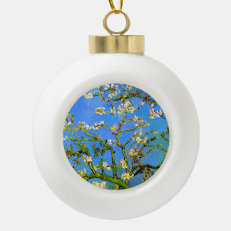 Van Gogh: Blossoming Almond Tree Branches Ceramic Ball Christmas Ornament