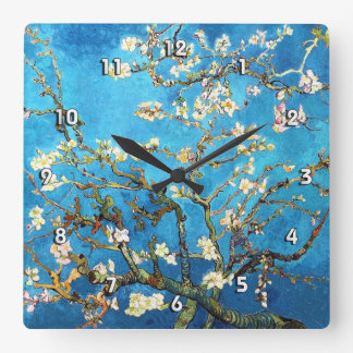 Van Gogh Blossoming Almond Tree (F671) Fine Art Square Wallclocks