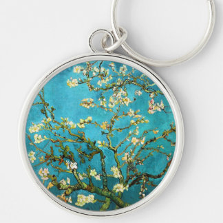 Van Gogh Blossoming Almond Tree Fine Art Silver-Colored Round Keychain