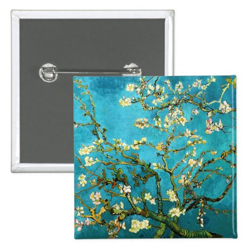 Van Gogh Blossoming Almond Tree Fine Vintage 2 Inch Square Button