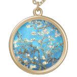 Van Gogh Blossoming Almond Tree Fine Vintage Round Pendant Necklace