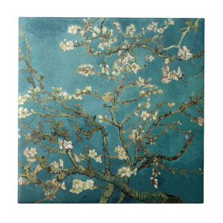 Van Gogh - Blossoming Almond Tree Small Square Tile