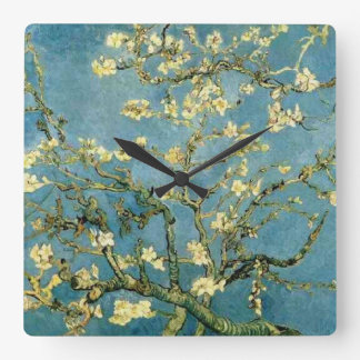 Van Gogh Blossoming Almond Tree Vintage Art Square Wall Clocks