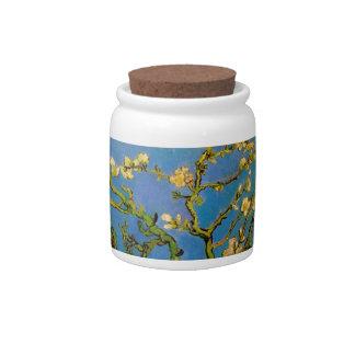 Van Gogh; Blossoming Almond Tree, Vintage Flowers Candy Jar