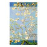 Van Gogh; Blossoming Almond Tree, Vintage Flowers Custom Stationery