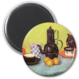Van Gogh Blue Enamel Coffeepot, Earthenware, Fruit 2 Inch Round Magnet