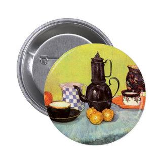 Van Gogh Blue Enamel Coffeepot, Earthenware, Fruit Pinback Button