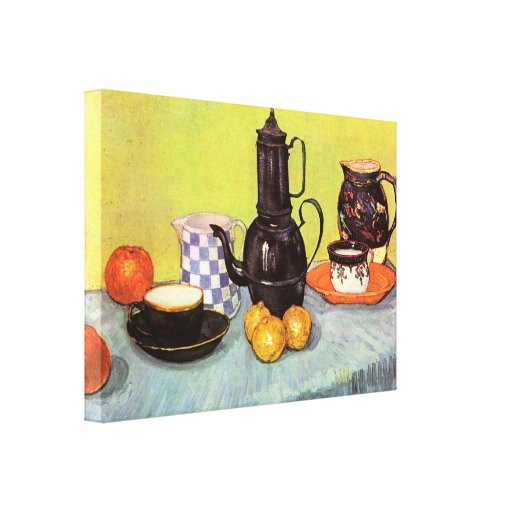 Van Gogh Blue Enamel Coffeepot, Earthenware, Fruit Canvas Print