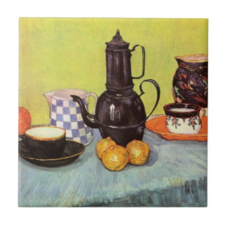 Van Gogh Blue Enamel Coffeepot, Earthenware, Fruit Ceramic Tile