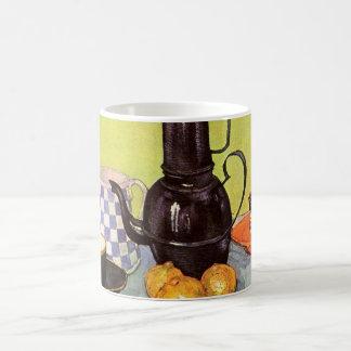 Van Gogh Blue Enamel Coffeepot, Earthenware, Fruit Coffee Mug