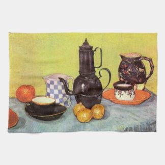 Van Gogh Blue Enamel Coffeepot, Earthenware, Fruit Hand Towels