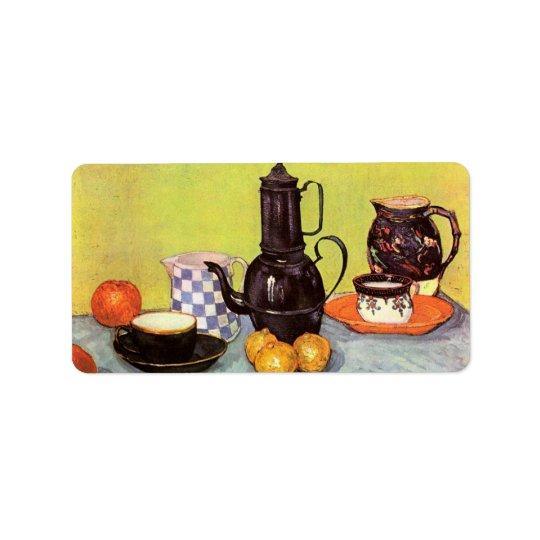 Van Gogh Blue Enamel Coffeepot, Earthenware, Fruit Label