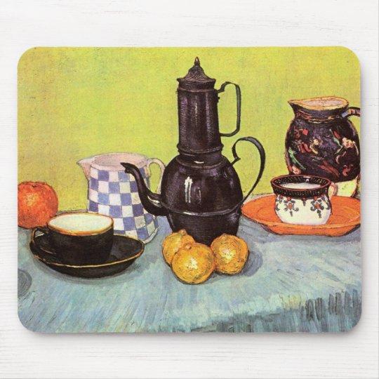 Van Gogh Blue Enamel Coffeepot, Earthenware, Fruit Mouse Pad