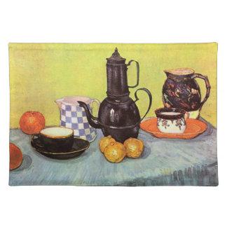 Van Gogh Blue Enamel Coffeepot, Earthenware, Fruit Placemats