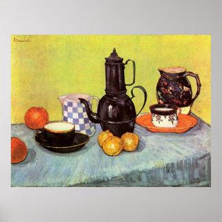 Van Gogh Blue Enamel Coffeepot, Earthenware, Fruit Poster