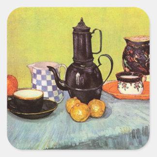 Van Gogh Blue Enamel Coffeepot Earthenware Fruit Square Sticker