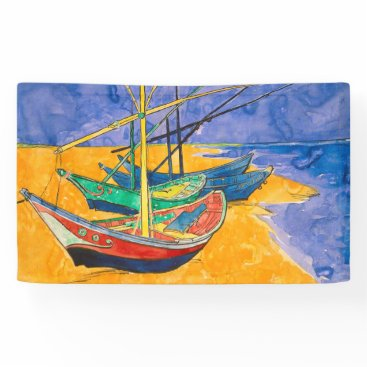 Beach Themed Van Gogh Boats Colorful Banner