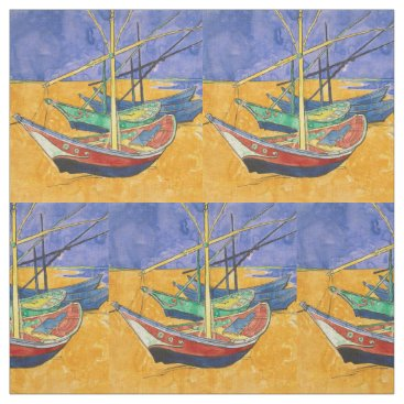 Beach Themed Van Gogh Boats Colorful Fabric