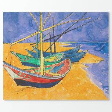 Beach Themed Van Gogh Boats Colorful Wrapping Paper