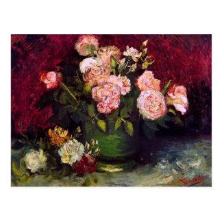 Van Gogh Bowl Peonies Roses F249 Fine Art Postcard