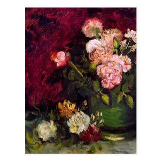 Van Gogh Bowl Peonies Roses F249 Fine Art Postcards