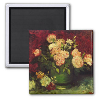 Van Gogh Bowl with Peonies and Roses, Fine Art 2 Inch Square Magnet