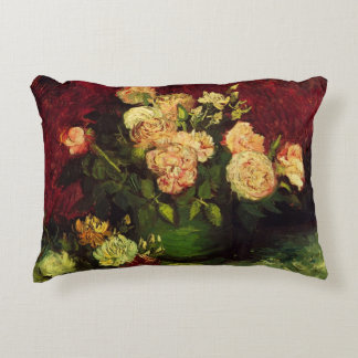 Van Gogh Bowl with Peonies and Roses, Fine Art Accent Pillow