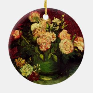 Van Gogh Bowl with Peonies and Roses, Fine Art Ceramic Ornament