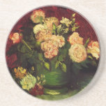Van Gogh Bowl with Peonies and Roses, Fine Art Drink Coaster