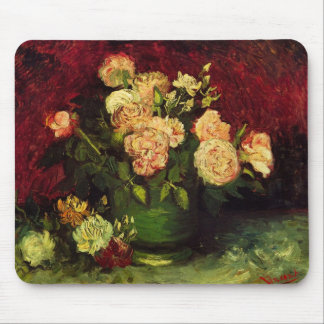 Van Gogh Bowl with Peonies and Roses, Fine Art Mouse Pad
