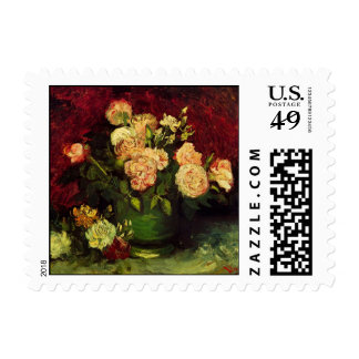 Van Gogh Bowl with Peonies and Roses, Fine Art Postage