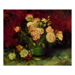 Van Gogh Bowl with Peonies and Roses, Fine Art Poster