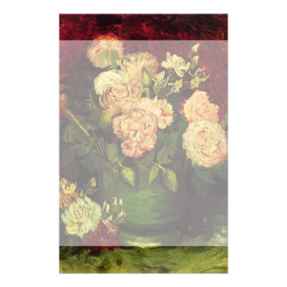Van Gogh Bowl with Peonies and Roses, Fine Art Stationery
