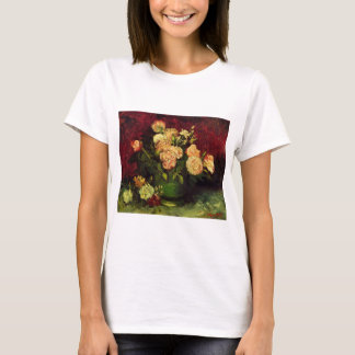 Van Gogh Bowl with Peonies and Roses, Fine Art T-Shirt